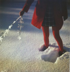 This Day Will Never Happen Again (Kate Pulley) Tags: winter red people snow film girl paper polaroid sx70 chain 600 balloo borderless bluecamera