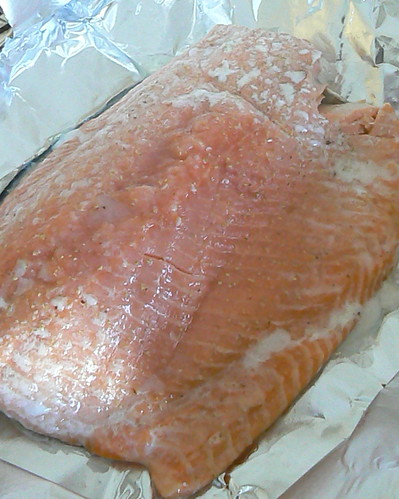 Salmon cooked in smoker bag