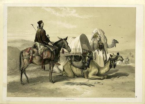 Kâfileh con camellos llevando toldos para el sol 1851