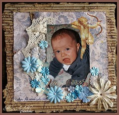Mon Ange (Mamzelle MCarina DM) Tags: fleur scrapbooking ange bleu carton papier dentelle garon cration