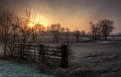 Frosty Field Sunrise (tsechel) Tags: morning ohio abandoned field rural sunrise fence frost farm hdr vermilion eriecounty photomatix 3exp