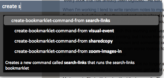Create bookmarklet command