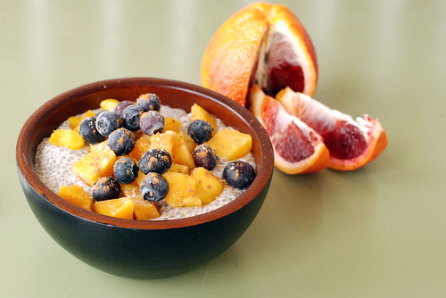 Chia Pudding with mangos and blueberries