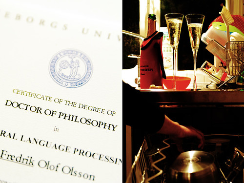 thursday night. degree certificate. champagne.