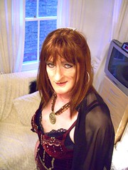 Flirting.... (Julie Bracken) Tags: old red portrait fashion hair tv cd mini skirt crossdressing tgirl transgender mature tranny transvestite pantyhose crossdresser crossdress kinky tg trannie mtf travesti m2f feminized enfemme xdresser tgurl feminised transsister julieb85