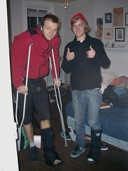 room mates (badzine) Tags: gay portrait broken boot foot tim room richmond lovers cast cj lamb crutches ankle joint punctured congrove