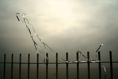 Silver. (DJ Bass) Tags: silver dancing tape thesea railings newyearsday ramsgate clifftop silvertape