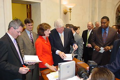 Former President Bill Clinton visits the Senate, February 18, 2009