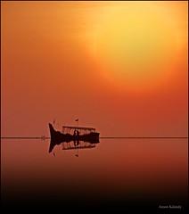 Sereneity.......(Explore) (aroon_kalandy) Tags: sunset orange beach evening boat kozhikode micarttttworldphotographyawards micartttt aroonkalandy