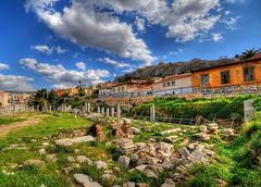 The Roman Forum of Athens (II) - landscape (5ERG10) Tags: blue houses sky white sergio grass clouds photoshop landscape greek temple ancient nikon ruins roman stones forum columns perspective wideangle athens foro palm romano greece grecia temples handheld column marbles acropolis remains hdr highdynamicrange romanforum agora doric scattered attica d300 rubbles hellenic 3xp photomatix atene sigma1020  tonemapping  amiti romaikiagora 5erg10 sergioamiti