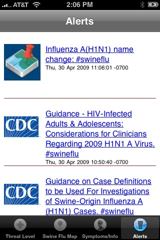 Alerts Swine Flu iPhone App