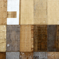 Patchwork  [explored} (red_dotdesign) Tags: wood toronto abstract texture wall pattern storefront plywood