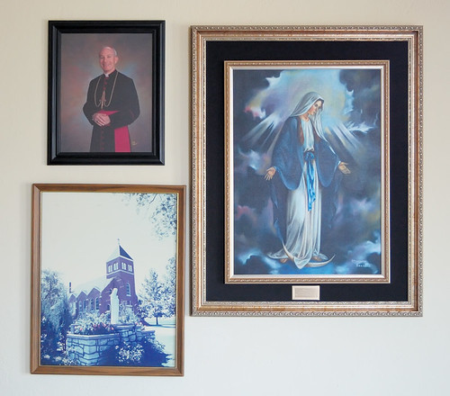 Saint Mary's Roman Catholic Church, in Fieldon, Illinois, USA - framed pictures in narthex