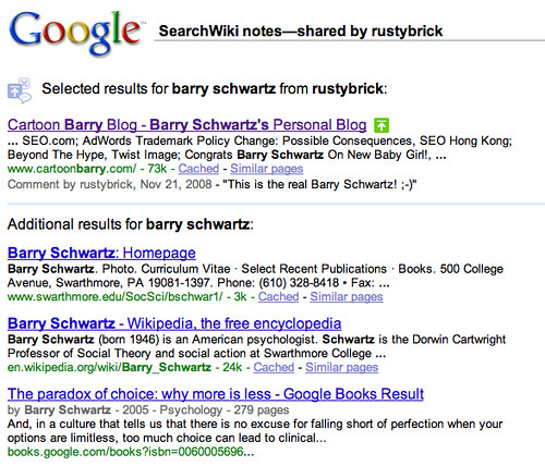 Sharing SearchWiki Notes