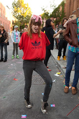 Armless Woman (Jonathan!) Tags: canada montreal portrait quebec woman armless red sweater dancing jimihendrix milf