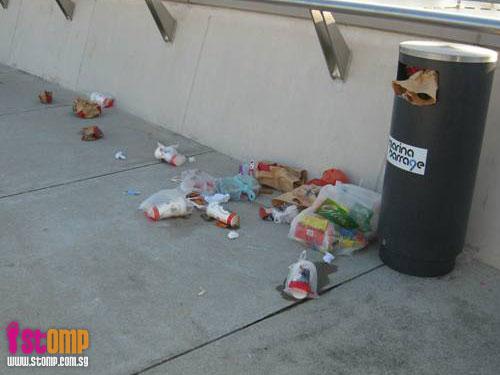 Lack of rubbish bins ruins scenery at Marina Barrage