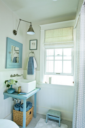 Blue + white beachy bathroom: Farrow & Ball paint + antique fixtures, from Coastal Living