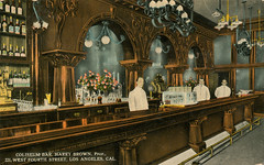 Coliseum Bar (jericl cat) Tags: old bar vintage design photo losangeles downtown interior postcard victorian style historic cocktail chandelier coliseum bartender harrybrown