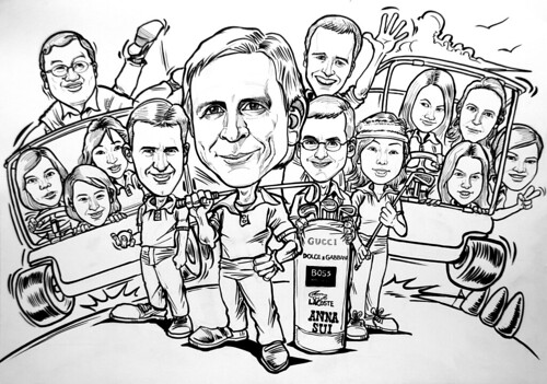 group caricatures for P&G - ink