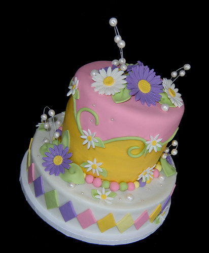 Pink Purple and Yellow Daisy Birthday Cake