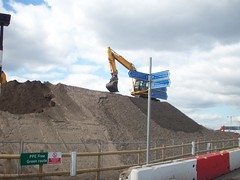 Crane & Mud Mounds (Andy Wilkes) Tags: london andy river site construction view stadium centre tube may andrew arena lea inside olympic build handball velodrome 2012 2010 wilkes aquatics londonist marshgate insidelondon2012