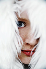 peek-a-boo. (Amanda Carlsson) Tags: blue red portrait woman white black color girl mouth fur nose grey eyes beige nikon skin l