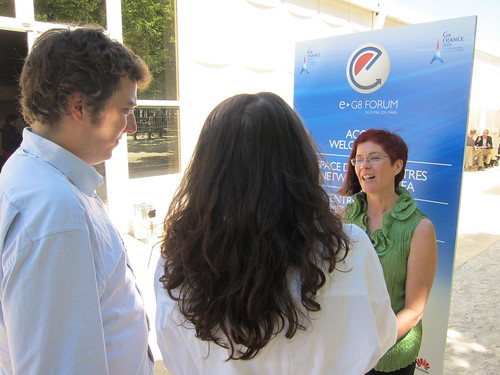 Mitchell Baker (Mozilla) being interviewed by OWNI.eu reporters at the eG8 Forum- Paris