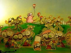 bunkwaa world diorama balloons (Bunkwaa) Tags: flowers cactus cute nerd cutout garden balloons display kawaii characters diorama cigarrette bunkwaa