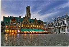The Bright Lights of Bruges (Nathan Bergeron Photography) Tags: sunset sky architecture reflections geotagged interestingness europe belgium brugge medieval unesco worldheritagesite cobblestone belfry citylights bruges awnings belfort tup westflanders explored burgsquare flemishregion yearinfrance theunforgettablepictures geo:lat=51207145 geo:lon=3225753