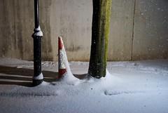 Post, Cone, Trunk (edwardhorsford) Tags: winter england white snow cold tree london ice lamp three traffic post cone trunk 2009 18200mmvrdx