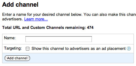 Google AdSense Channels