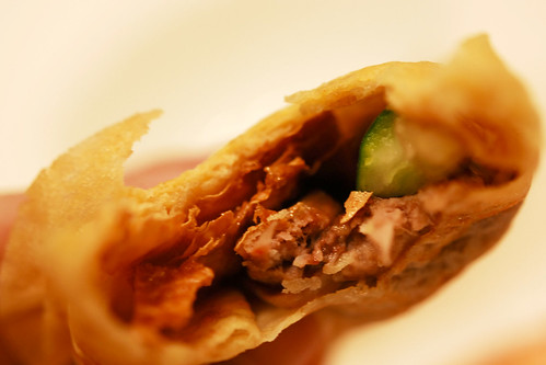 Combination of sliced duck with crispy beancurd skin wrapped in egg pancake - DSC_3031 copy