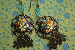 madame butterfly earrings (Chili Crab) Tags: flowers blue orange yellow one chili crystal handmade ooak earring crab jewelry kind fimo clay etsy brass 2009 filigree polymer swarovsky