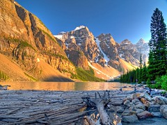 Shores of Moraine Lake (Matt Champlin) Tags: blue sunset canada mountains landscape amazing cool jasper logs olympus glacier alpine alberta banff e300 hdr moraine moring banffnationalpark icefield glacial mora