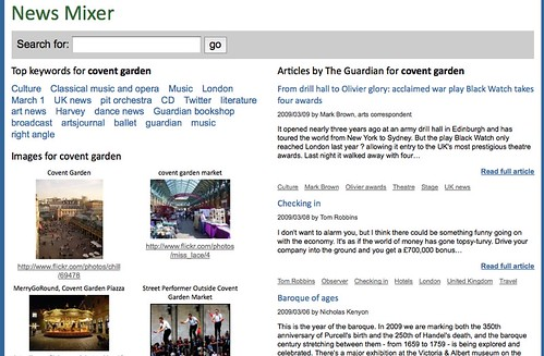 News Mixer - web news and images enhanced by Guardian content