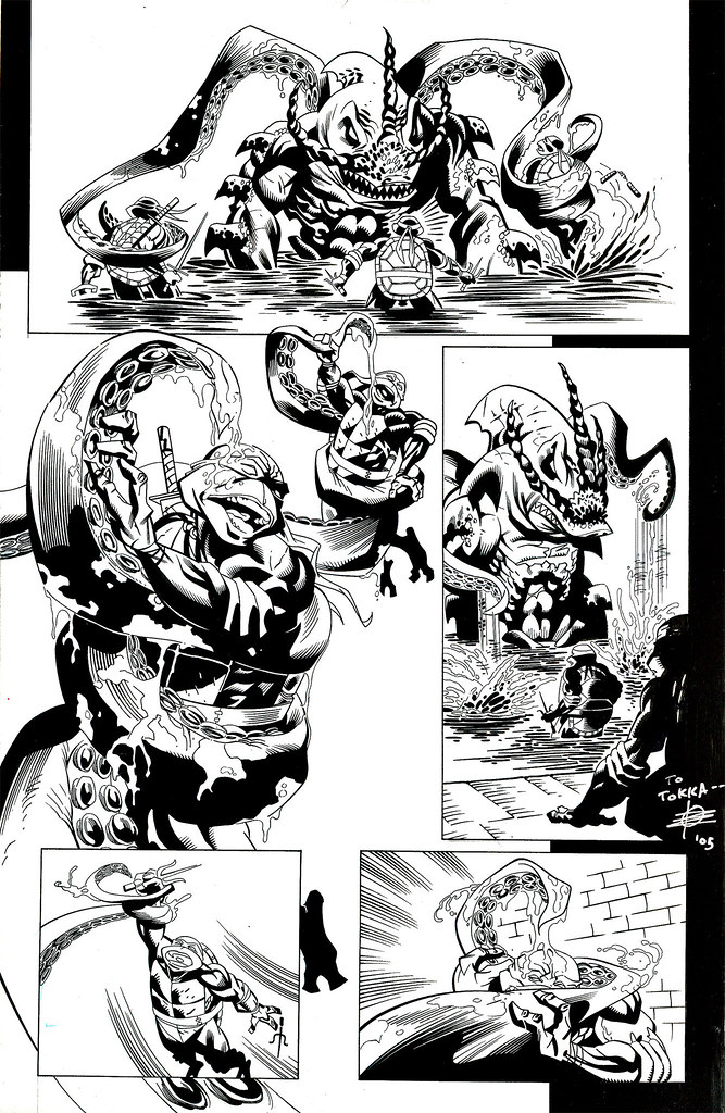 """Tales of the TMNT"" v. 2 # 4 pg. 19  ..pencils by Rick Remender,inks by John Beatty // signed by Rick (( 2004 - 2005  ))"
