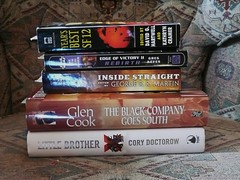 Books I'm Reading 2009 04 03 (sdobie) Tags: sf new wild black cards reading star order martin little brother south cook books victory best company edge 100views jedi 400views 300views 200views inside wars 12 500views straight rebirth 2009 doctorow 800views 600views 700views cramer export 1000views keyes hartwell 900views 1250views