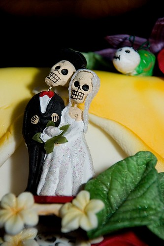 The Day of the Dead cake topper that Grooms Mom brought from Mexico.