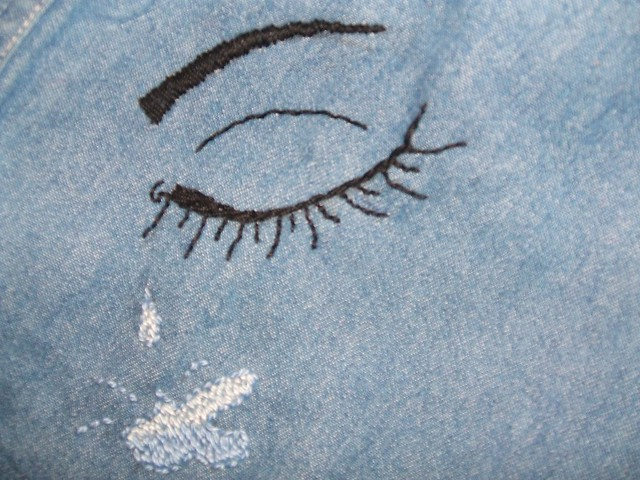 Crying Eyes WIP. I absolutely love to draw eyes, why not try embroidering