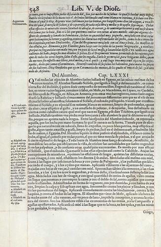018- Del mineral Alumbre-Pedacio Dioscorides Anazarbeo 1555