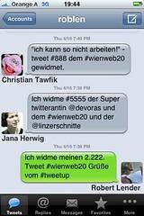 drei runde Tweets beim tweetup