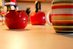 Saturday morning tea (random letters) Tags: morning red cup kitchen puddle tea stripes kettle teapot