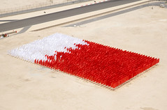 The field of flags from the air (Bahrain International Circuit) Tags: bahrain f1 grandprix formula1 bahraingrandprix bicraceimages bicf1images2009