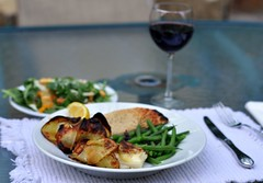 Potato-Wrapped Halibut with Green Beans and Pita Bread