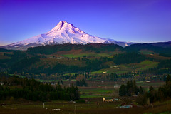 Mt. Hood (Jeff Engelhardt) Tags: morning blue trees light snow cold green field oregon barn sunrise canon river twilight purple farm peak roadtrip orchard glacier valley mthood april mounthood hoodriver gnd neutraldensity 40d jeffengel jeffengelhardt peekedatyourpeak tweakyourpeak