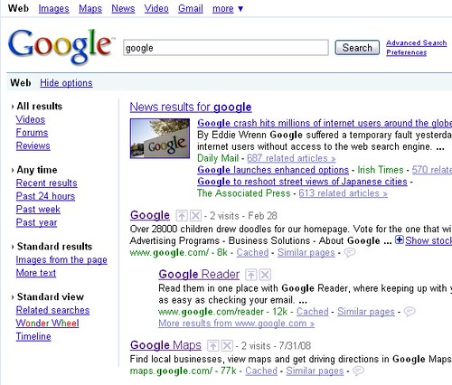 screenshot of Google Search Options
