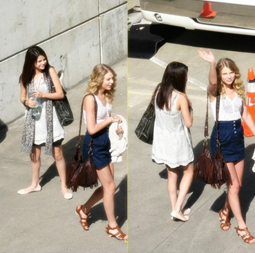 pictures of taylor swift and selena gomez. Besties Selena Gomez and Taylor Swift hang together as they wait for good