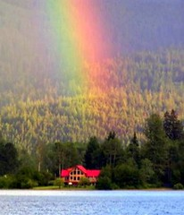 WOW!!!   TULAMEEN RAINBOW...GOOD KARMA FOR THE MARTELL'S COTTAGE. (vermillion$baby) Tags: rainbow water red summer tulameen serene color otterlake luminosity light freshwater lake vista vivid mountain glow veryvivid weather storm gold goldset cascademountains cascade mountainlake vermillion lodge reflection mountainsandwater landscape seascape