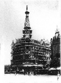 Photo début 1916, construction de l'immeuble de la Confiteria del Molino. Buenos Aires