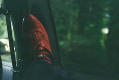 Grain (Kid_Curry) Tags: red film car self shoe grain petri kidcurry jasminegotmetheseshoesatgoodwill